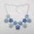 Bright blue color flower shape enamel silver chain jewelries amber necklace