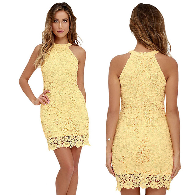 Women Casual Dress Elegant Wedding Party Sexy Night Club Halter Neck Sleeveless Sheath Badycon Lace Mini Dress Vestido