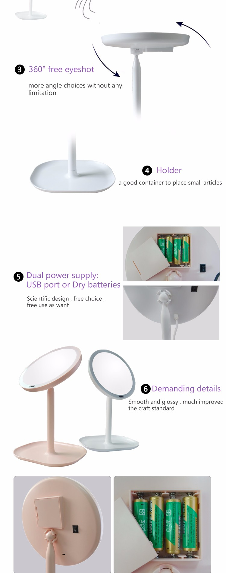 Best Selling Sersor Round Magnifier Custom Led Mirror Light Made In China