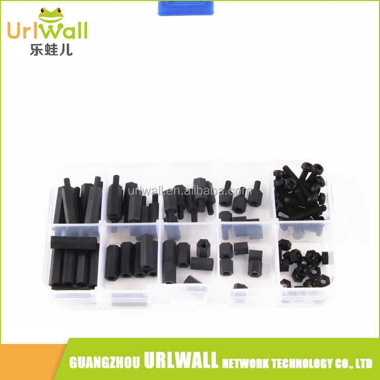 Black 88Pcs M3 Nylon Male/Female Hex Spacer Screw Nut Assorted Kit Stand off Set with plastic box