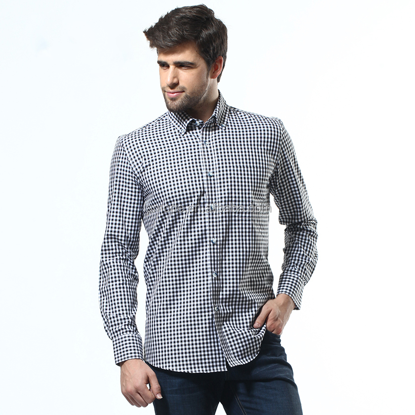 Latest new fashion design buttn down grid casual shirt for men