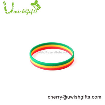 Three color fashion custom logo soft pvc silicone in wristband