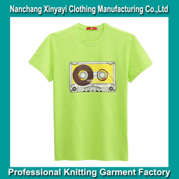 Oem bulk fluorescent green color silk screen printing t for T shirts in bulk for screen printing