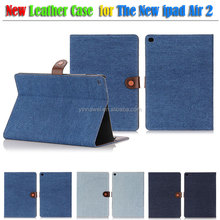 Cowboy Jeans Leather Case Smart Cover Sleep Mode Jeans Case For ipad Air 2, For ipad 6 case
