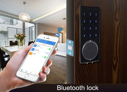smart home bluetooth lock security door lock with handle