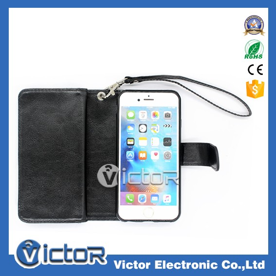 Cellphone accessories wallet leather case with strap for iphone 6