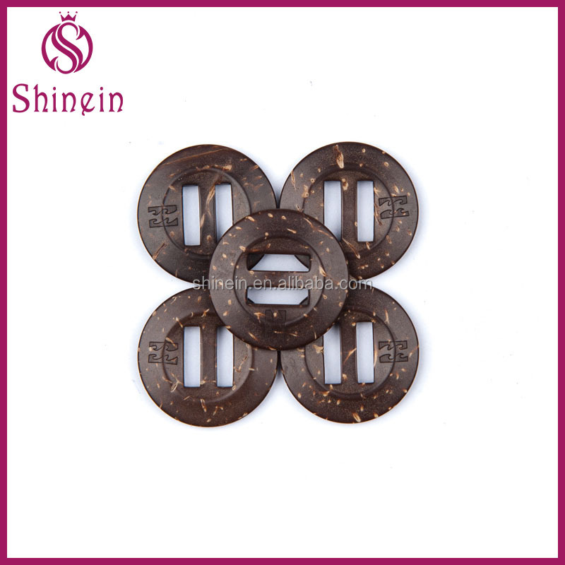 Fashion accessories 23mm coconut shell button ROHS tested extra large natural coconut coat buckles