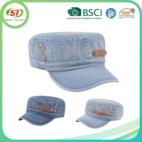 Rivet Decoration Washed Denim Cadet Army Flat Top Leather Patch Military Hat