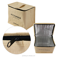 Portable custom kraft paper insulated six pack cooler bags