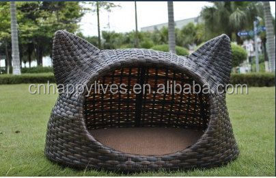 Newest excellent quality factory price Happy Lives rattan pet house wholesale