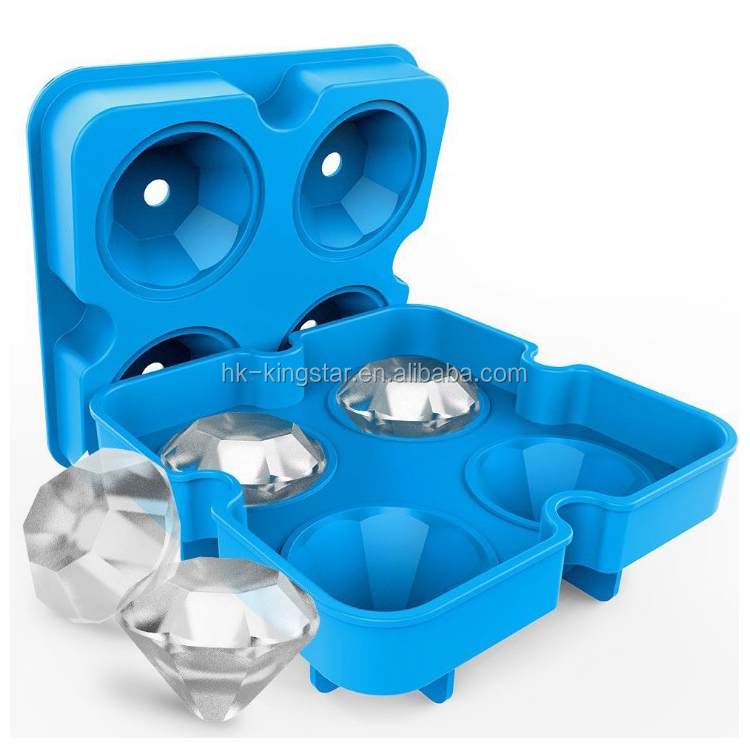 Large 3D Diamond Ball Ice Cube Maker Mold Set Flexible Silicone Ice Tray Reusable for Whiskey