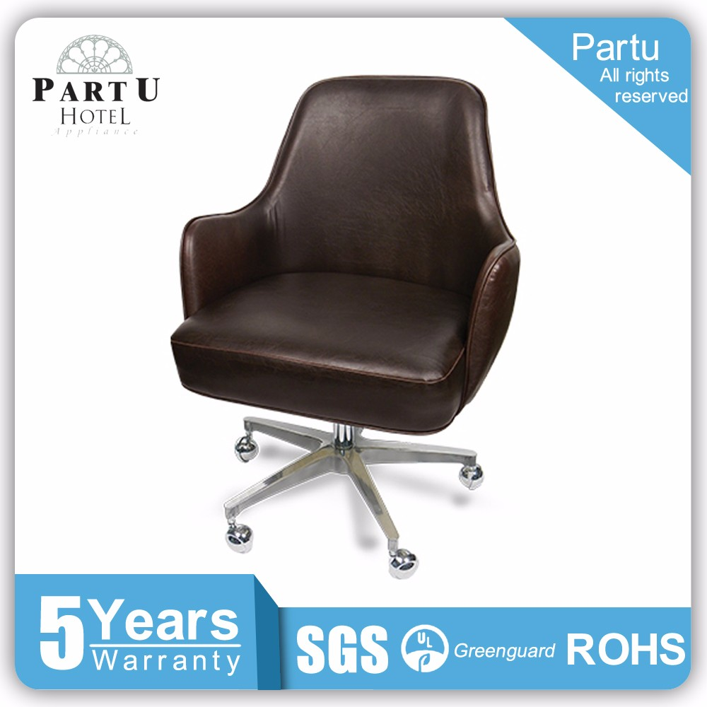 Partu Brown leather office chair chair parts swivel base