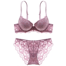 Europe women's comfort bra and panty set with fancy transparent floral embroidery decoration