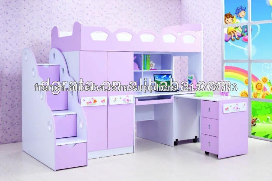 2014 couleur pourpre lit enfant avec armoire et bureau a for Ensemble lit et armoire