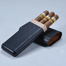 carbon fiber leather surface mahogany wood insert travel 3 CT cigar case