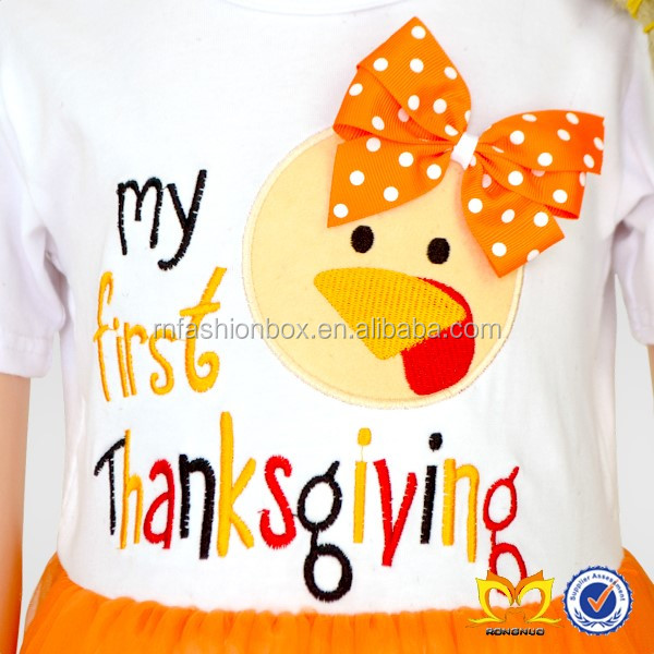 Thanksgiving Embroidery Turkey Romper Tutu Dressy Skirt Leotard Newborn Baby Clothes