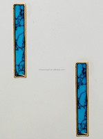 Thin Rectangular Bar Marbled Natural Stone Filled Earrings
