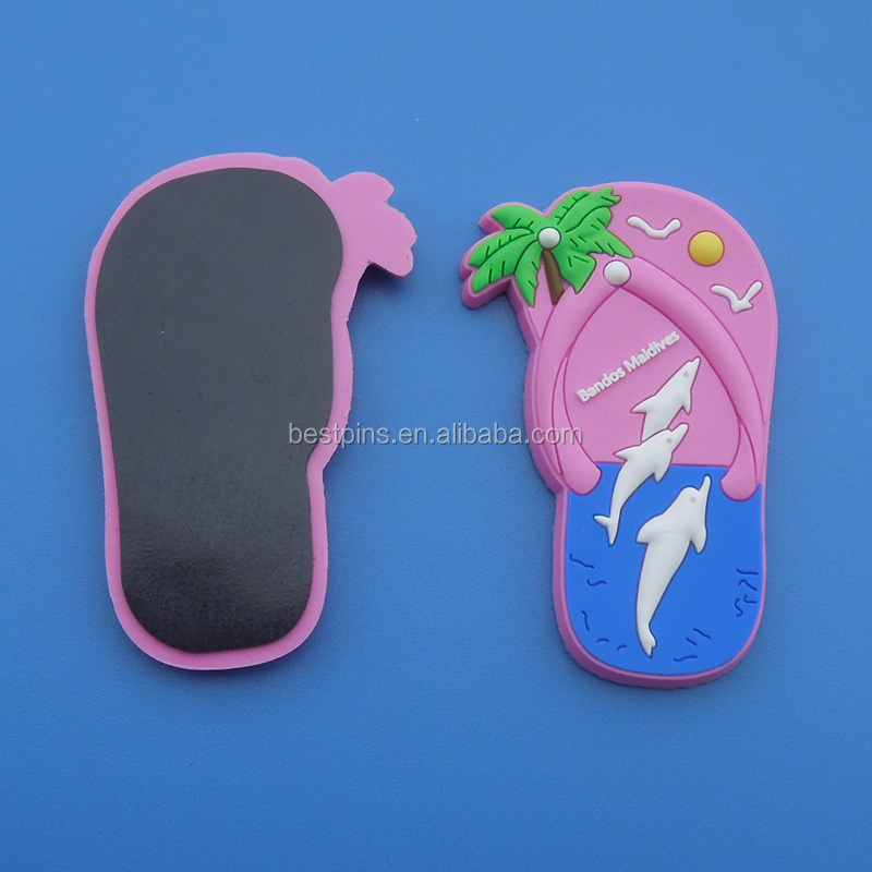OEM slippers shaped rubber/silicone flip flops fridge magnets for maldives
