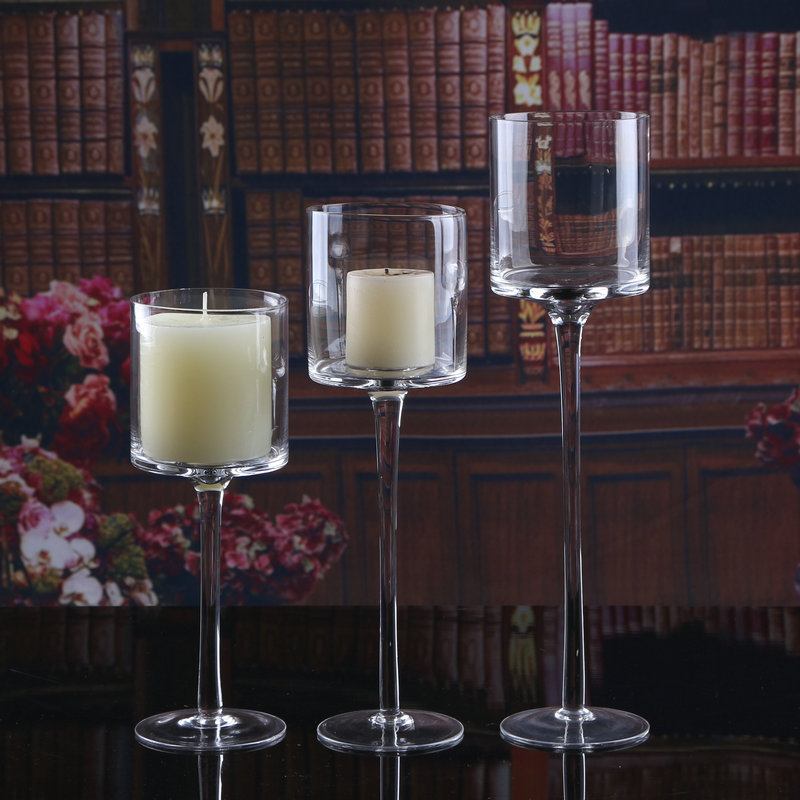 wedding decorative tall glass candle holder