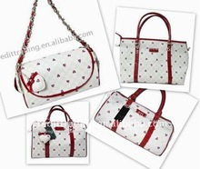 Fashion Leather Ladies Bags Model with Heart Marks print