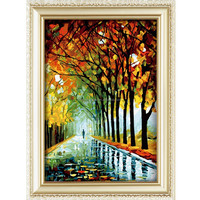 2015 paris street scene oil painting A person walking in the woods 3d painting