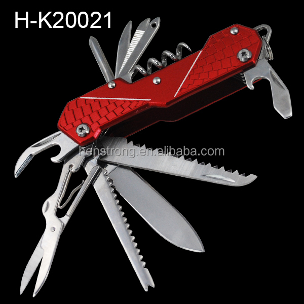 Swiss Pokcet Knife Hand Tools With Red Aluminum Handle