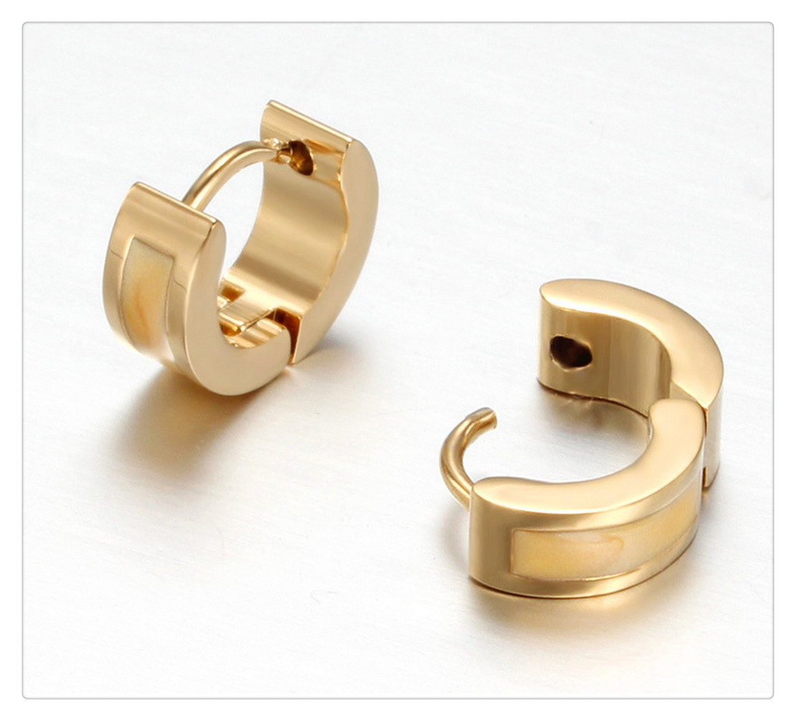 Classical Golden Filled Plated with Pink Green Gray Enamel Stainless Steel Gold Huggie Earring  EKE037