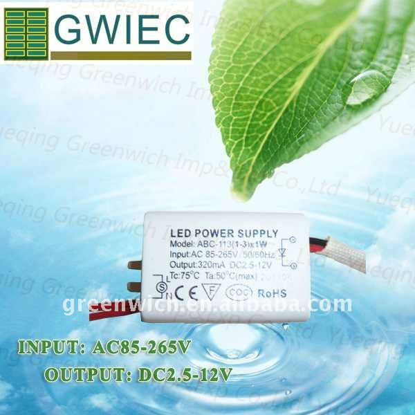 Constant Current LED Power Supply, LED Driver 1-3W