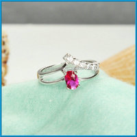 platinum filled oval ruby women ring