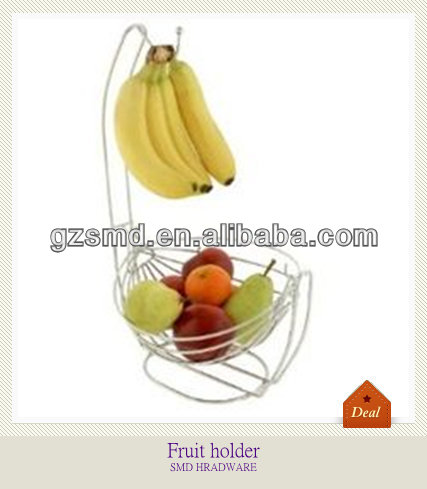 Simple round metal fruit basket with banana hanger
