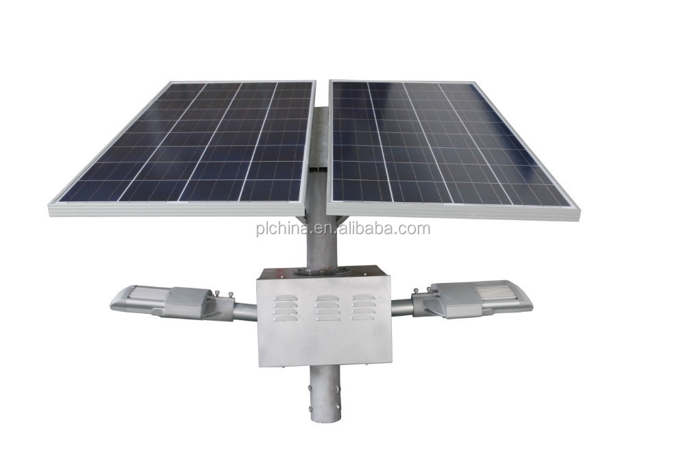 60W High Quality Solar LED Street Solar Panels + Double Arms LED Solar Street Light Price