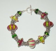 Lampwork Glass & Bali Silver Toggle Bracelet