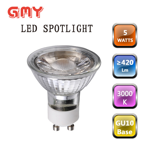 Dimmable 5w glass led spotlight gu10