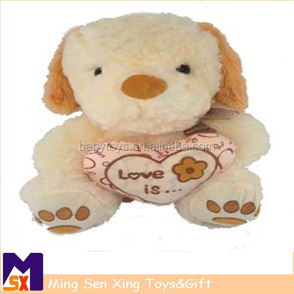 Cuddly Stuffed Plush Dog Toy Plus Heart Pillow For Valentine's Gifts