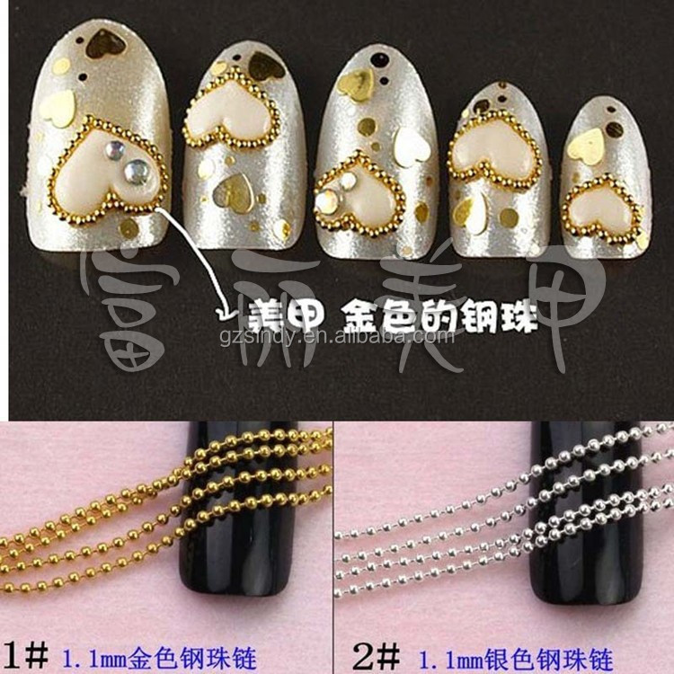 Gold and Silver Tiny Line Chain design for nail art /Nail Art Chain