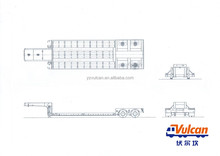 2 axle 8 wheel air suspension low bed trailer dimensions