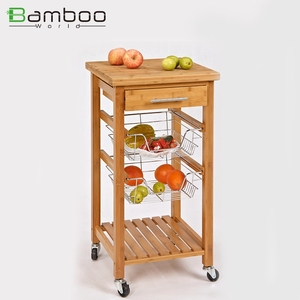 Mdf Eco-friendly Big Wooden Serving Mobile Kitchen Island And Kitchen Cart Trolley