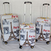 Printing PU luggage bags for travel and business delsey cabin trolley bag suitcase sets wheel pack