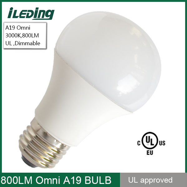 LED Light Bulb A19 100W Replacement Uses 12W 800 Lumens Dimmable