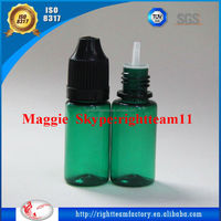 EO sterilization!plastic food containers wholesale 10ml green pet semi-transparent bottle black child resistant cap