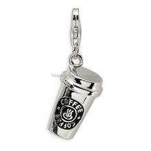 High Quality Rhodium Plated 3D Enamel Coffee Cup Charms With Lobster Clasp