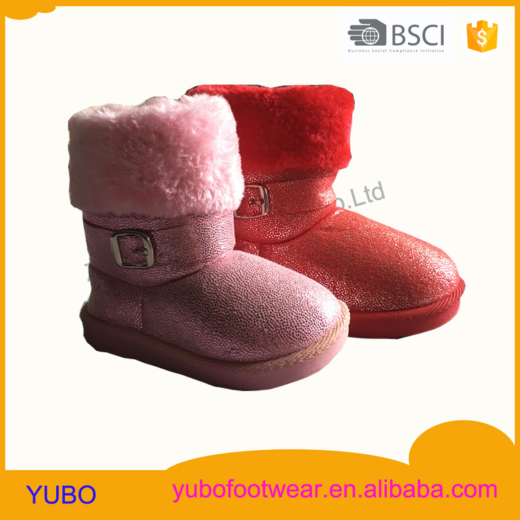 Bronzing suede injection winter snow boots with buckle strap