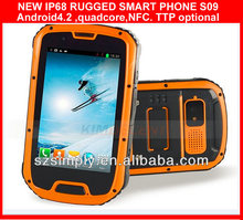 "IP68 QUAD CORE 4.3""ANDROID SMART MOBILE PHONE ,GPS,AGPS , PTTand NFC optional S09 android 4.2 mtk6589m quad core phone android 4"