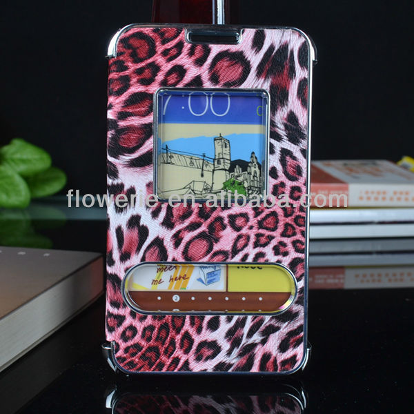 FL684 NEWEST!leopard pattern chrome Aluminum case for samsung galaxy note,with caller ID electroplating leather case for i9220