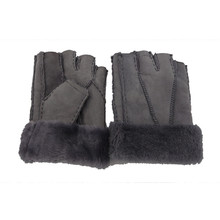 Good quality light grey winter thick sheepskin fur half mittens glove for mens