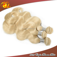 Hair weaving remy russian blonde hair extensions,tangle free no shed hair weaving