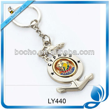 Anchor metal keychain for CYPRUS