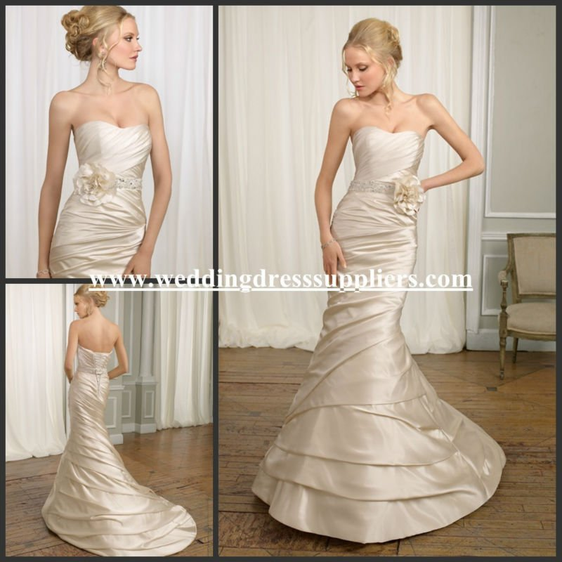 ML100 Champage Romantic Satin Sheath With Flower Sash Ruffled Strapless Mermaid Wedding Dress Patterns
