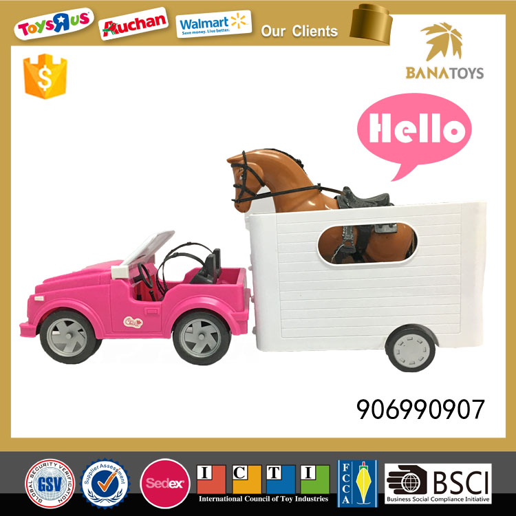 Kids toy farm trailer and horse model