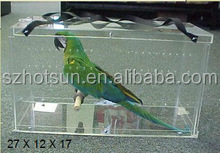 Acrylic Rectangle Bird Carrier Travel Cage Parrot Vacation Bird Home